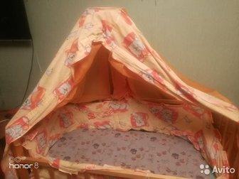 хорошее состояние, Ребенок спал мало, в комплекте:=кроватка=матрасик=бортики=балдахинторг имеется, обмен не интересно, Состояние: Б/у в Бийске