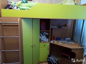 Кровать чердак, с вместительным шкафом, без матрасаСостояние: Б/у в Ижевске