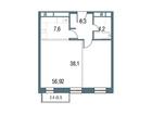 Продается 1-комн. кв-ра площадью 56.92 кв.м на 16 этаже 16 э