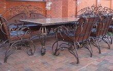 столовый кованый гарнитур:стол,стулья,диван
