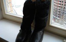 Продам новые черные кожаные унты