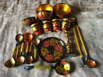 Просмотреть фото Антиквариат Хохлома 19 предметов 32353523 в Москве