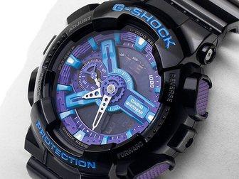Просмотреть фотографию Часы Часы G-shock 110RG, черно-голубые 34753513 в Москве