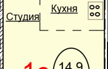 Студия 27,1 м, кв, Ивлева 217 с видом на Обь