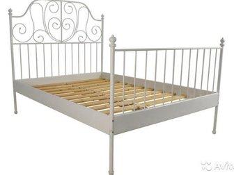 Продам каркас кровати икеа белая металлическая б/у,  Размер 140х200, без реечного дна и матраса,  Продается в связи с переездом, находится в собраном состоянии, в Новосибирске