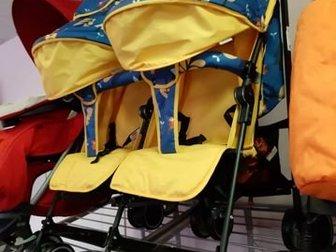 *уценка: 4796, нет дождевика, пологи не в цвет Прогулочная коляска-трость для двойни Babyhit Twicey,  Прогулочная коляска с механизмомскладывания «трость» для двоих в Новосибирске