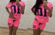 Cпортивный костюм с шортами 10 розовый