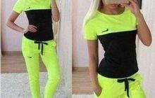 Спортивный костюм NK салатовый/черный