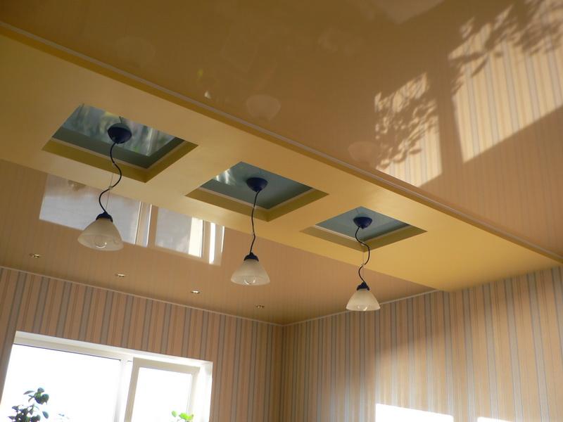 Потолок ремонт на кухне своими руками 7