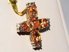 Просмотреть изображение  Крестик с натуральными оранжево-желтыми сапфирами, 38014135 в Санкт-Петербурге