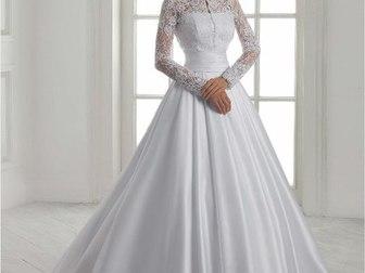 Новое фотографию Свадебные платья Атласное платье c длинным рукавом 37198533 в Тамбове
